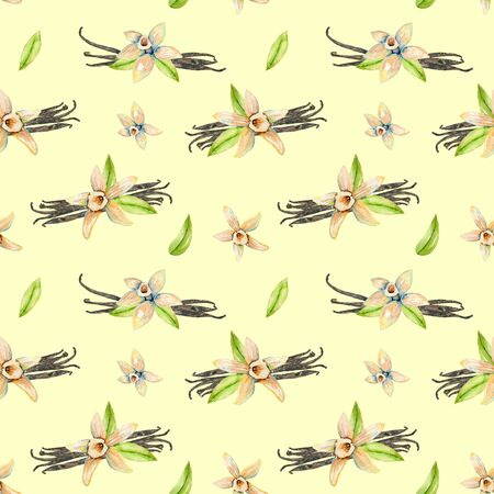 Seamless pattern with watercolor vanilla flowers, hand painted isolated on a yellow background
