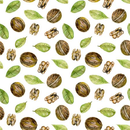 Seamless pattern con elementi di noci acquarello, dipinto a mano isolato su uno sfondo bianco
