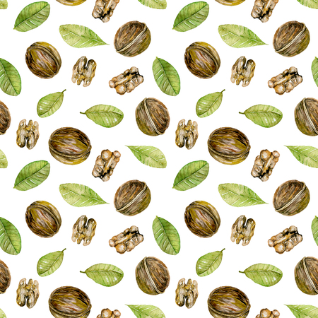 Seamless pattern with watercolor walnuts elements, hand painted isolated on a white background