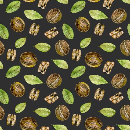 Naadloze patroon met waterverf walnoten elementen, handgeschilderd geïsoleerd op een donkere achtergrond Stockfoto