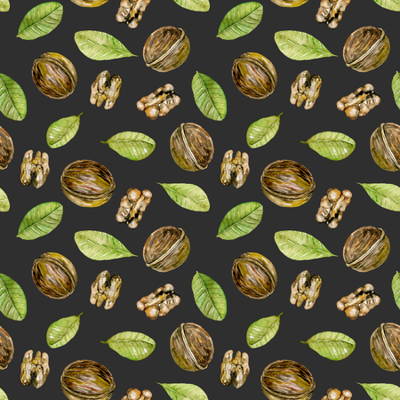 Seamless pattern with watercolor walnuts elements, hand painted isolated on a dark background