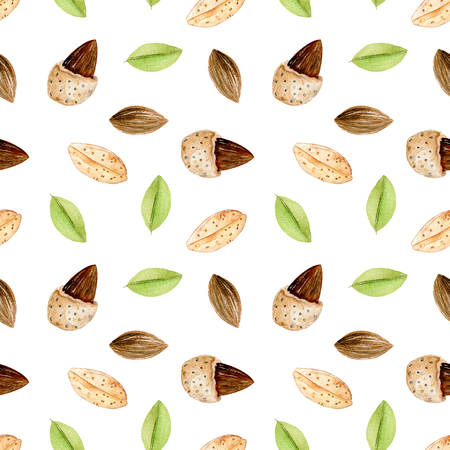 Seamless pattern with watercolor almond elements, hand painted isolated on a white background Kho ảnh