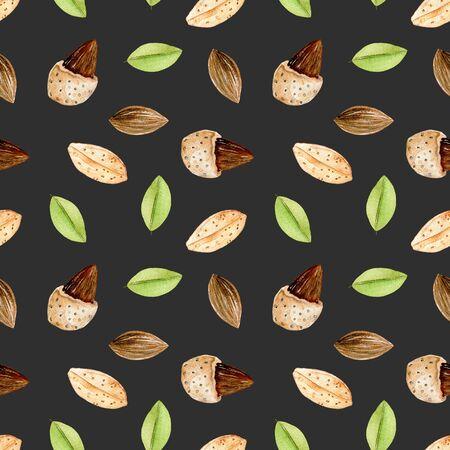 Seamless pattern con elementi di mandorla acquerello, dipinto a mano isolato su uno sfondo scuro