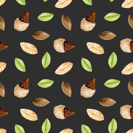 Seamless pattern with watercolor almond elements, hand painted isolated on a dark background Kho ảnh