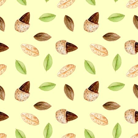 Seamless pattern with watercolor almond elements, hand painted isolated on a yellow background