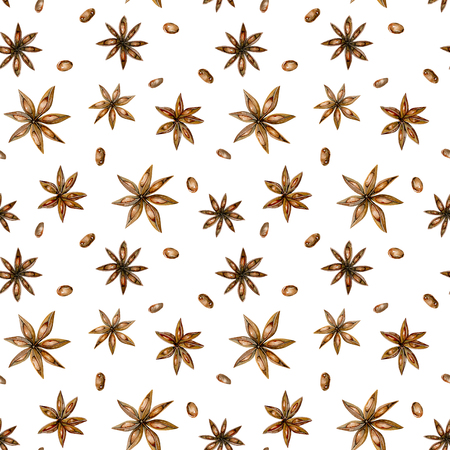 Seamless pattern with watercolor anise stars, hand drawn isolated on a white background