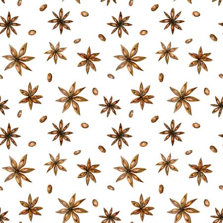 Zökkenőmentes minta akvarell-ánizs csillaggal, kézzel rajzolt elszigetelt fehér alapon