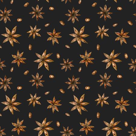 Бесшовные шаблон с акварель звезды аниса, руки, изолированных на темном фоне