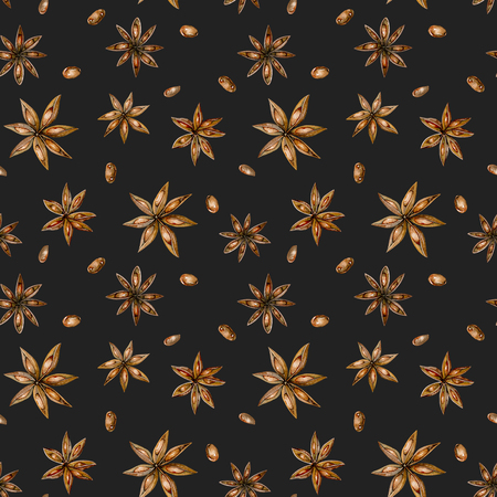 Seamless pattern with watercolor anise stars, hand drawn isolated on a dark background