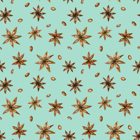 Бесшовные шаблон с акварель звезды аниса, руки, изолированных на синем фоне Фото со стока