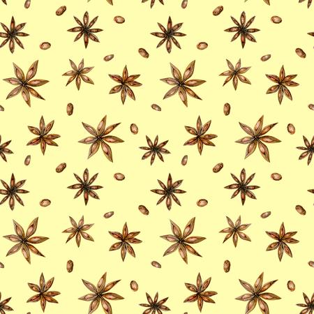 Padrão sem costura com estrelas de anis aquarela, desenhado a mão isolado em um fundo amarelo Banco de Imagens