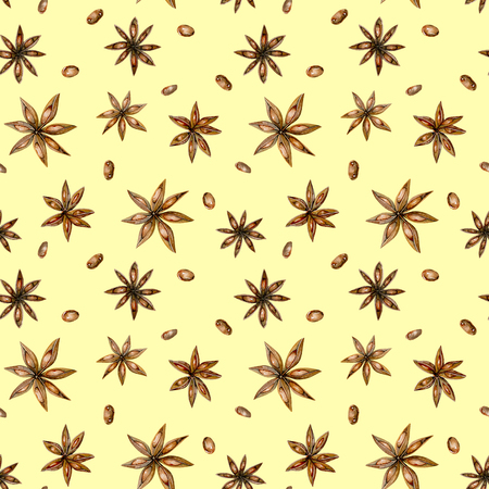 Patrón sin fisuras con estrellas de anís acuarela, dibujado a mano aislado en un fondo amarillo Foto de archivo