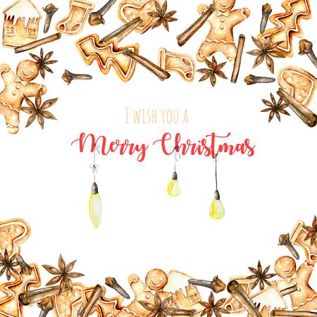 Molde de cartão, moldura com pães de guloseimas e especiarias de aguarela (canela, estrela de anis e cravo), mão desenhada em um fundo branco Imagens
