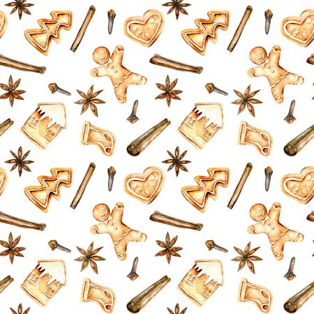 Бесшовные шаблон с акварель пряники и специи (корицы, анисовая звезда и гвоздики), руки обращено изолированы на белом фоне