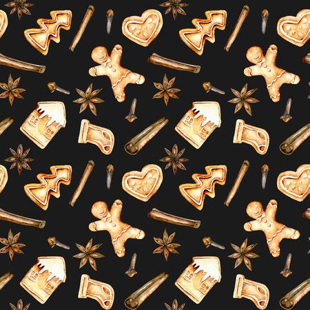 Patrón sin fisuras con acuarela pan de jengibre y especias (canela, anís estrella y clavo), dibujado a mano aislado en un fondo oscuro