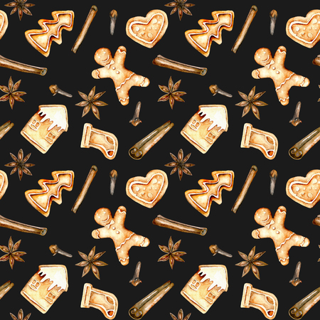 Seamless pattern with watercolor gingerbreads and spices (cinnamon, anise star and cloves), hand drawn isolated on a dark background