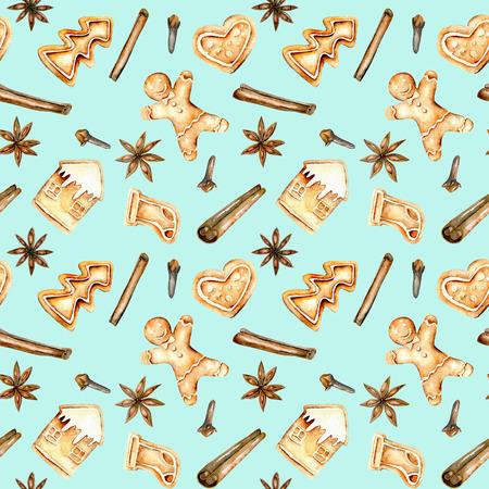 Zökkenőmentes minta akvarell mézeskalács és fűszerekkel (fahéj, ánizs csillag és szegfűszeg), kézzel rajzolt elszigetelt kék háttér Stock fotó