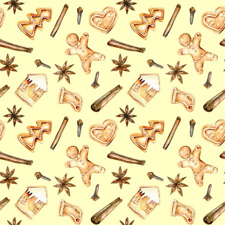 Naadloos patroon met aquarellenbroodjes en kruiden (kaneel, anijsster en kruidnagel), hand getekend geïsoleerd op een gele achtergrond