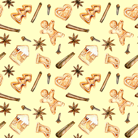 Seamless pattern with watercolor gingerbreads and spices (cinnamon, anise star and cloves), hand drawn isolated on a yellow background