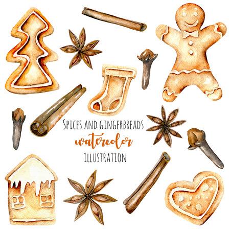 Conjunto de pães de guloseimas e especiarias de aguarela (canela, anis e cravo), mão desenhada isolada em um fundo branco Imagens
