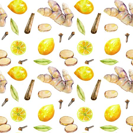 Seamless pattern with watercolor ginger, lemon and spices elements, hand painted isolated on a white background