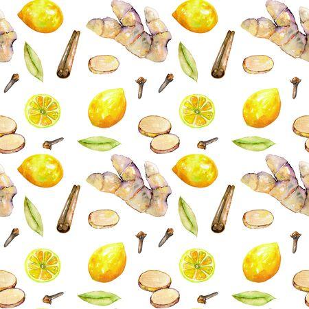 Zökkenőmentes minta az akvarell gyömbér, citrom és fűszerek elemek, kézzel festett elszigetelt fehér alapon