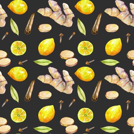 Naadloos patroon met waterverf gember, citroen en specerijen elementen, handgeschilderd geïsoleerd op een donkere achtergrond Stockfoto