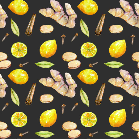Seamless pattern with watercolor ginger, lemon and spices elements, hand painted isolated on a dark background Foto de archivo