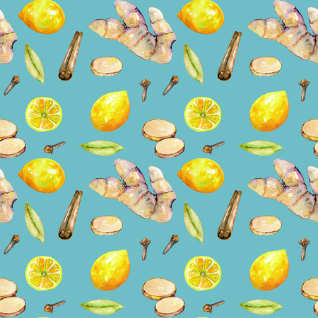 Seamless pattern with watercolor ginger, lemon and spices elements, hand painted isolated on a blue background