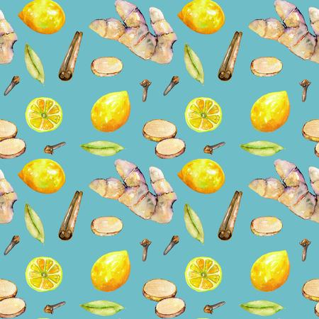 Zökkenőmentes minta az akvarell gyömbér, citrom és fűszerek elemeket, kézzel festett elszigetelt kék háttér Stock fotó