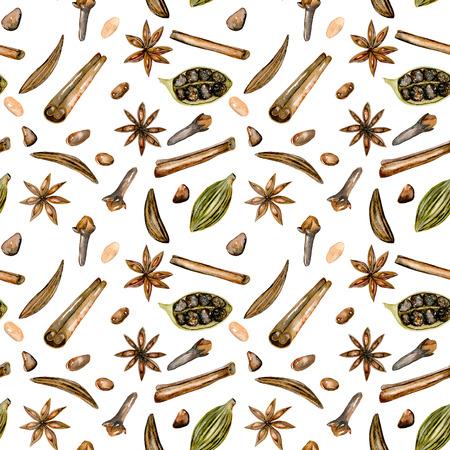 Padrão sem costura com especiarias de aguarela (canela, anis, alcaravia, cardamomo e cravo), mão desenhada isolada em um fundo branco