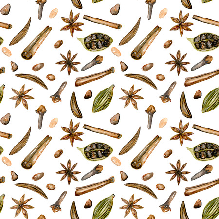 Seamless pattern with watercolor spices (cinnamon, anise, caraway, cardamom and cloves), hand drawn isolated on a white background