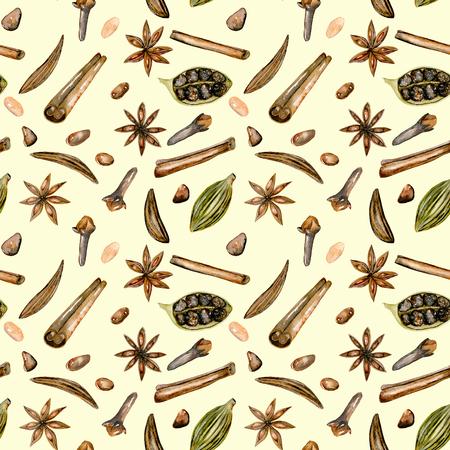 Seamless pattern con spezie acquarello (cannella, anice, caraway, cardamomo e chiodi di garofano), disegnato a mano isolato su uno sfondo beige chiaro