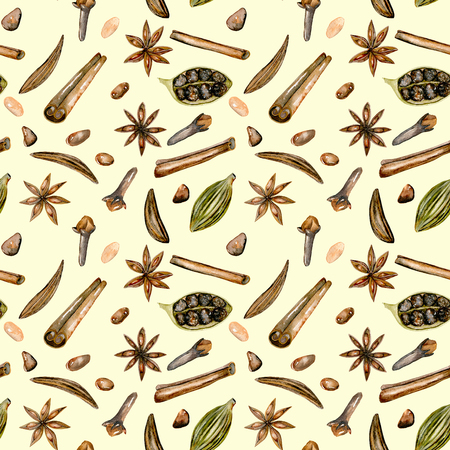 Seamless pattern with watercolor spices (cinnamon, anise, caraway, cardamom and cloves), hand drawn isolated on a light beige background