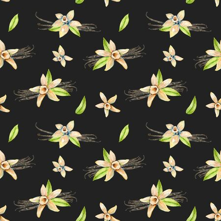 Seamless pattern with watercolor vanilla flowers, hand painted isolated on a dark background Kho ảnh