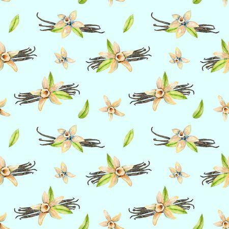 Seamless pattern con fiori di vaniglia in acquerello, dipinta a mano isolato su uno sfondo blu