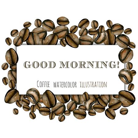 Moldura dos grãos de café da aguarela, mão desenhada em um fundo branco