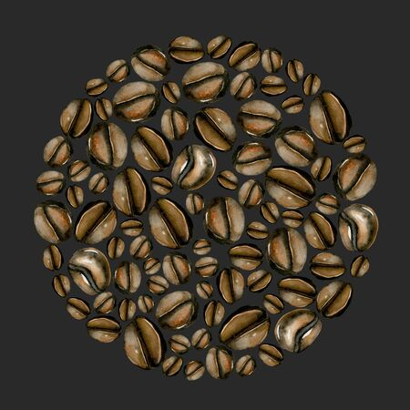 Circle illustration from watercolor, beans, hand painted isolated on a dark background