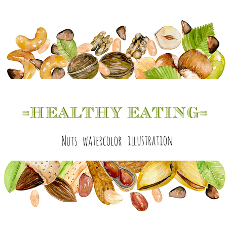 Frame from watercolor nuts (peanuts, walnuts, hazelnuts, almonds, pistachios, cedar nuts, cashews), hand drawn on a white background Imagens