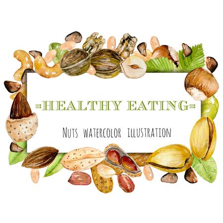 Frame from watercolor nuts (peanuts, walnuts, hazelnuts, almonds, pistachios, cedar nuts, cashews), hand drawn on a white background Stok Fotoğraf