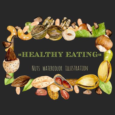 Frame from watercolor nuts (peanuts, walnuts, hazelnuts, almonds, pistachios, cedar nuts, cashews), hand drawn on a dark background