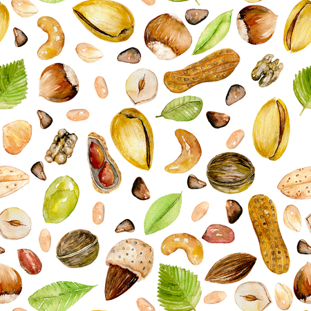Seamless pattern with watercolor nuts, hand painted isolated on a white background Stok Fotoğraf