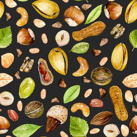 Бесшовные шаблон с акварелью орехи, ручная роспись, изолированных на темном фоне Фото со стока