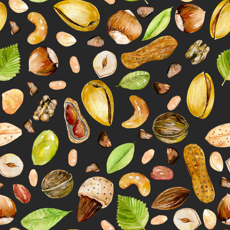 Seamless pattern with watercolor nuts, hand painted isolated on a dark background