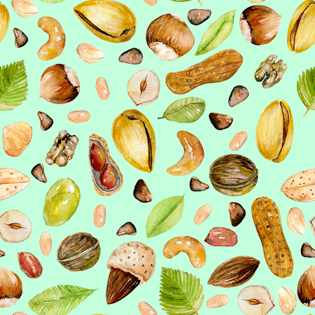 Seamless pattern with watercolor nuts, hand painted isolated on a bright mint background