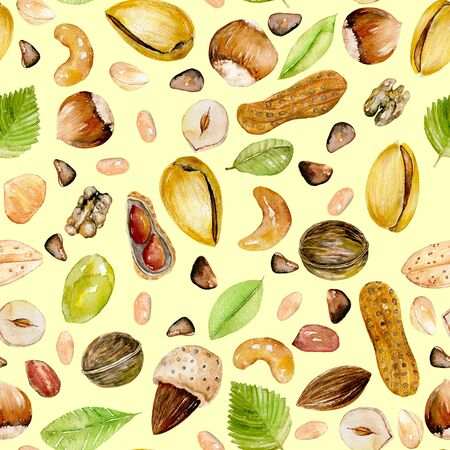 Seamless pattern with watercolor nuts, hand painted isolated on a yellow background