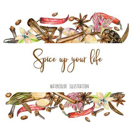 Quadro de especiarias de aguarela (canela, anis, alcaravia, cardamomo, manjericão, pimenta vermelha, gengibre, baunilha e cravo), desenhados a mão sobre um fundo branco