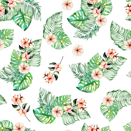 Seamless pattern with watercolor, isolated on white background