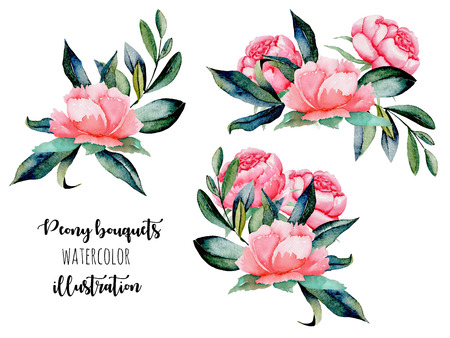 Set of watercolor red peonies and green leaves bouquets illustrations, hand drawn isolated on a white background Stock Photo