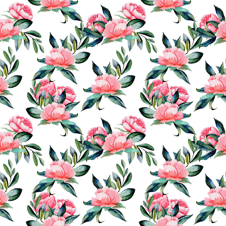 Seamless pattern with watercolor red peonies and green leaves, hand drawn on a white background